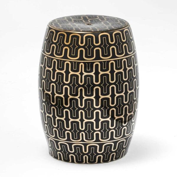 Černo-zlatá keramická stolička Thai Natura, 33 x 43 cm