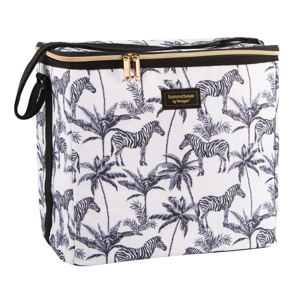 Černobílá chladící taška s potiskem Navigate Zebra Repeat, 20 l
