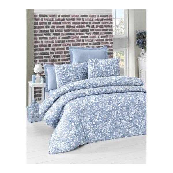 Lenjerie de pat din bumbac satinat Verano, 140 x 200 cm, albastru
