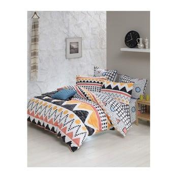 Lenjerie de pat cu cearșaf din bumbac ranforce, pentru pat dublu Mijolnir Bettina Yellow, 200 x 220 cm de la Mijolnir