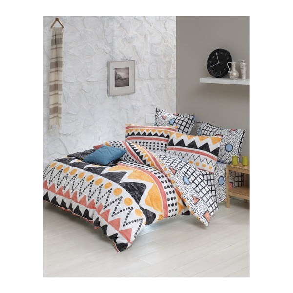 Lenjerie de pat cu cearșaf din bumbac ranforce, pentru pat dublu Mijolnir Bettina Yellow, 200 x 220 cm