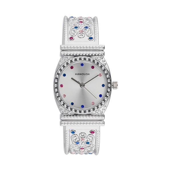 Dámské hodinky stříbrné barvy s krystaly Manoush Afrodité