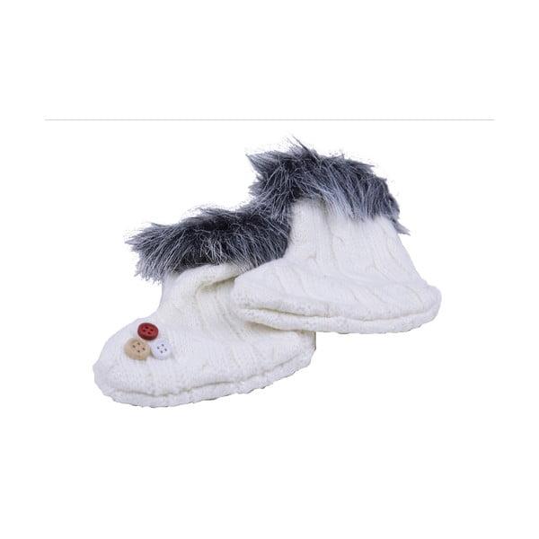 Biela vlnená závesná ozdôba v tvare ponožiek Ego dekor
