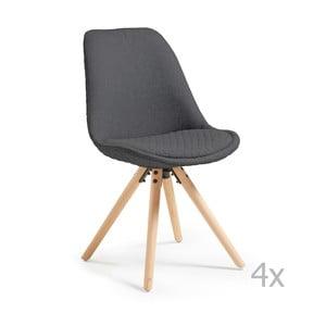 Sada 4 tmavě šedých jídelních židlí La Forma Lars