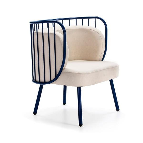 Nabi kék fém fotel fehér párnával - Teulat