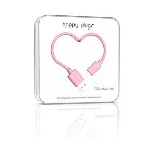 Růžový Happy Plugs nabíjecí a datový kabel, 2 metry