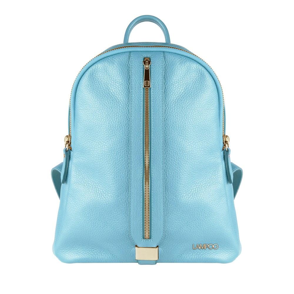 Světle modrý kožený batoh Lampoo Kassa