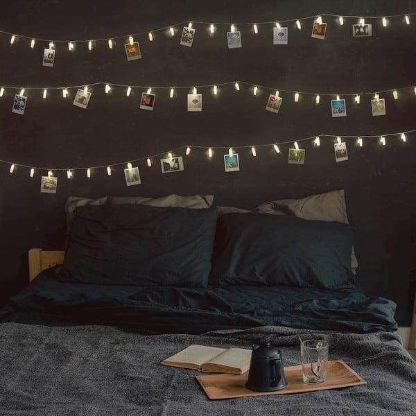 Przezroczysta girlanda świetlna LED w kształcie klamerek DecoKing Pin,40 lampek, dł.6,35m