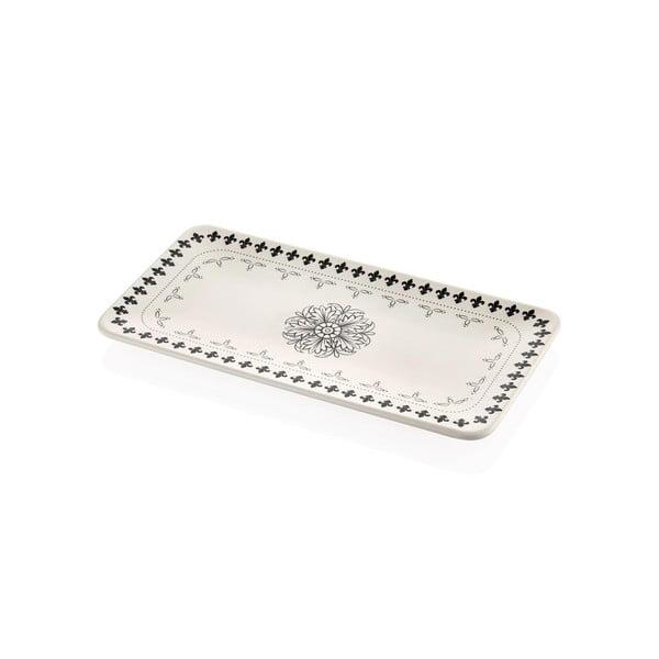Farfurie din porțelan pentru servire cu ornamente negre Mia Libre, 32 x 17 cm, crem