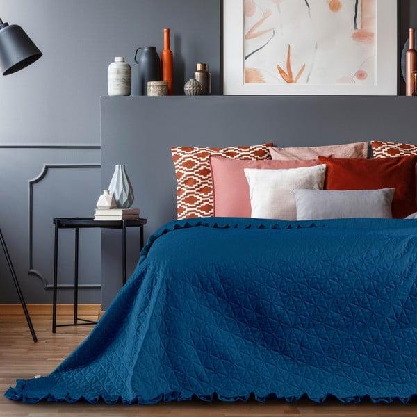 Modrý pléd AmeliaHome Tilia, 240 x 220 cm