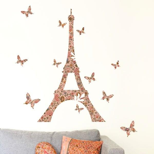 Samolepka na zeď Big Flowery Eiffel Tower, 57x90 cm