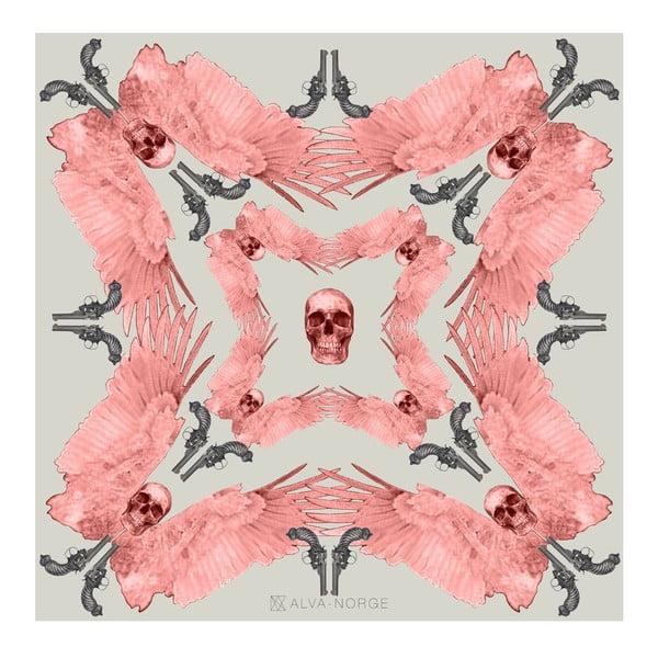 Vlněný šátek s kašmírem Guns Pink, 130x130 cm
