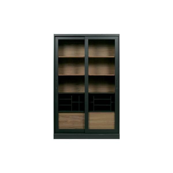 Čierna knižnica z masívneho borovicového a dubového dreva WOOOD James