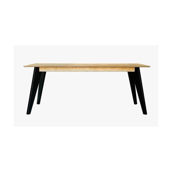 Masă dining cu picioare negre Radis Huh Oak, lungime 190 cm