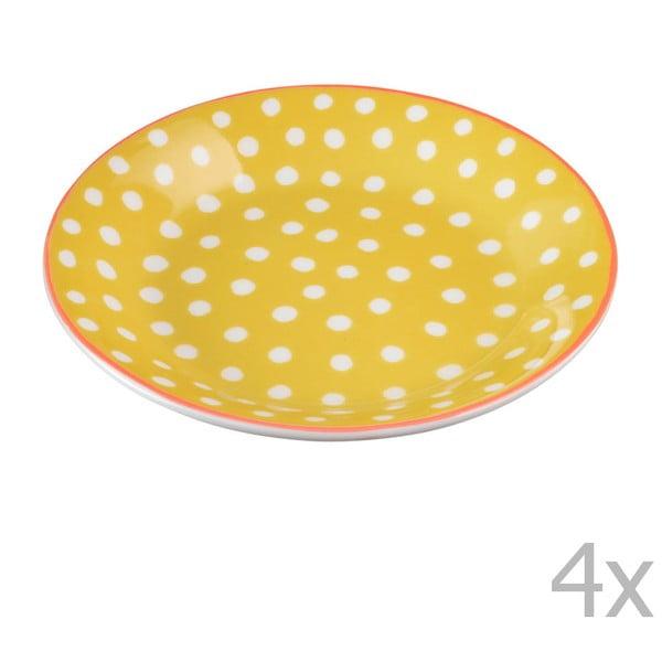 Sada 4 porcelánových talířků s puntíky Oilily 10 cm, žlutá