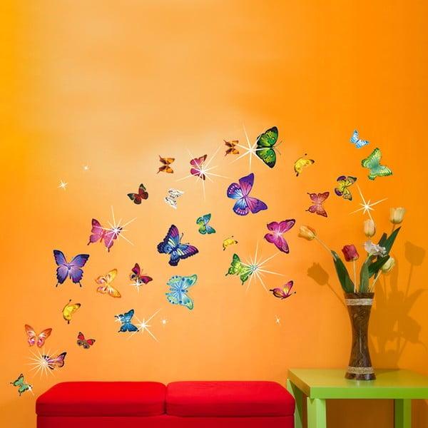 Samolepka na stěnu Barevní motýlci se Swarovski kamínky