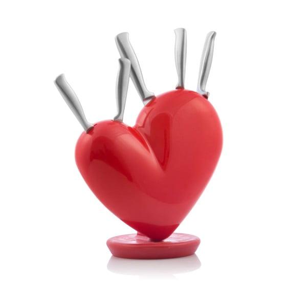Sada 5 nerezových nožů s blokem ve tvaru srdce InnovaGoods