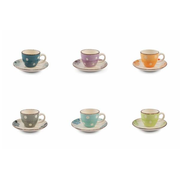 Set 6 cești pentru espresso cu farfurioară Villa d'Este Tazone, multicolor