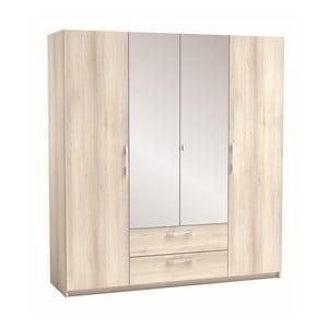 Čtyřdveřová šatní skříň v dekoru akáciového dřeva Saturne
