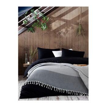 Cuvertură din bumbac pentru pat dublu Galina Black White, 220 x 240 cm, gri de la EnLora Home