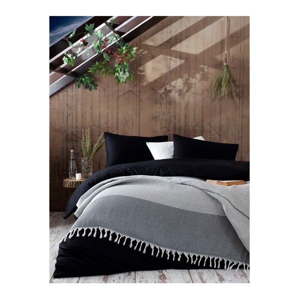 Szara bawełniana narzuta na łóżko Galina Black White, 220x240 cm