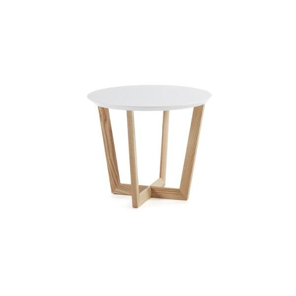 Odkládací stolek z jasanového dřeva s bílou deskou La Forma Rondo, ⌀60cm