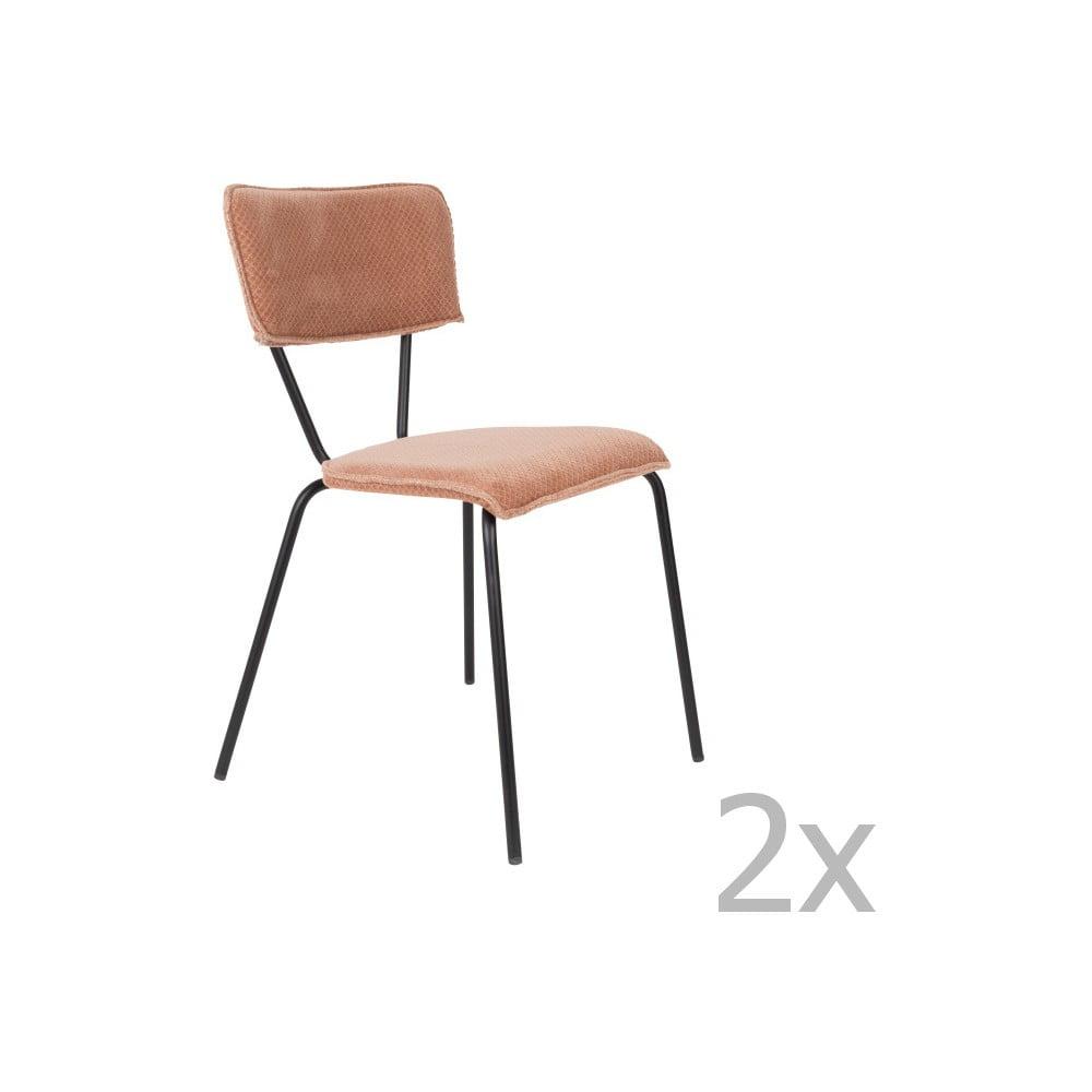 Sada 2 růžových židlí Dutchbone Melonie
