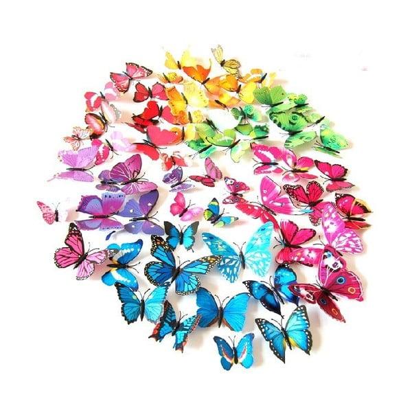 Dekorativní samolepka Duhoví motýli, 48 ks