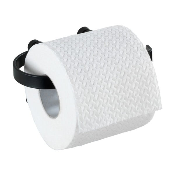Čierny nástenný držiak na toaletný papier Wenko Classic Plus