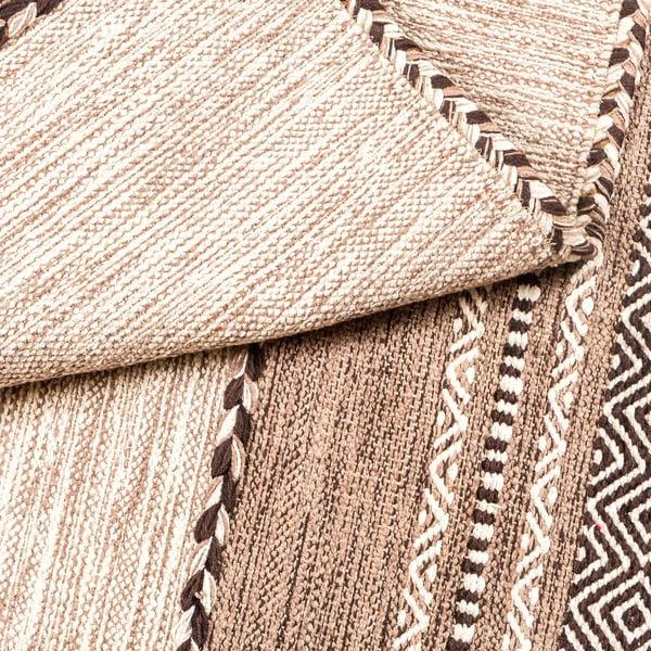 Covor țesut manual Navaei & Co Kilim Tribal 105, 90 x 60 cm, bej-maro