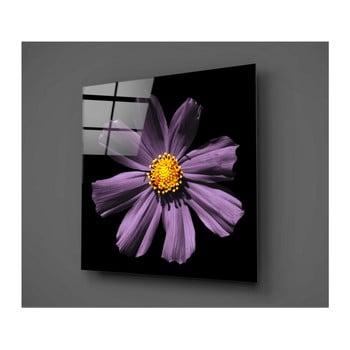 Tablou din sticlă Insigne Flowerina, 30 x 30 cm, negru-lila imagine