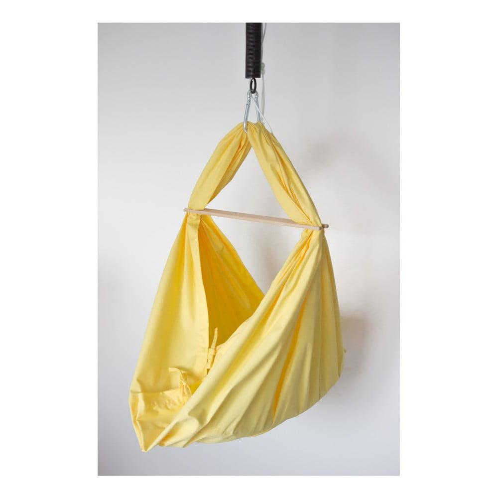 Žlutá kolébka z bavlny se zavěšením do dveří Hojdavak Baby (0 až 9 měsíců)