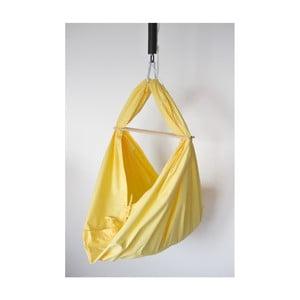 Žlutá kolébka z bavlny se zavěšením do dveří Hojdavak Baby (0až9 měsíců)