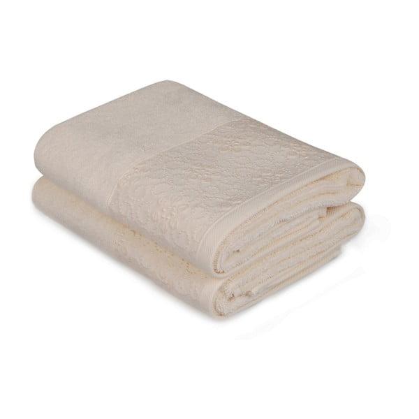 Sada 2 béžových ručníků z čisté bavlny Grande, 50 x 90 cm