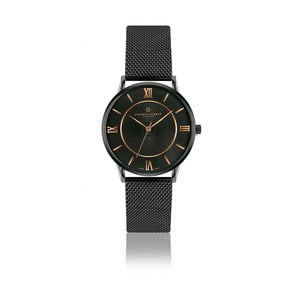 Unisex černé hodinky z nerezové oceli s detaily v barvě růžového zlata Frederic Graff Hypnotic