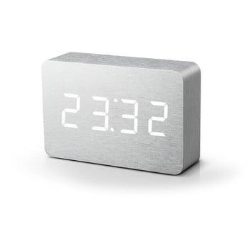 Ceas deșteptător alb cu LED alb Gingko Brick Click Clock
