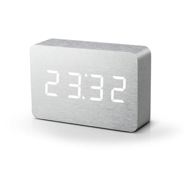 Brick Click Clock világosszürke ébresztőóra fehér LED kijelző - Gingko