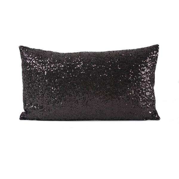 Flitrovaný polštář Shiny Black, 33x57 cm