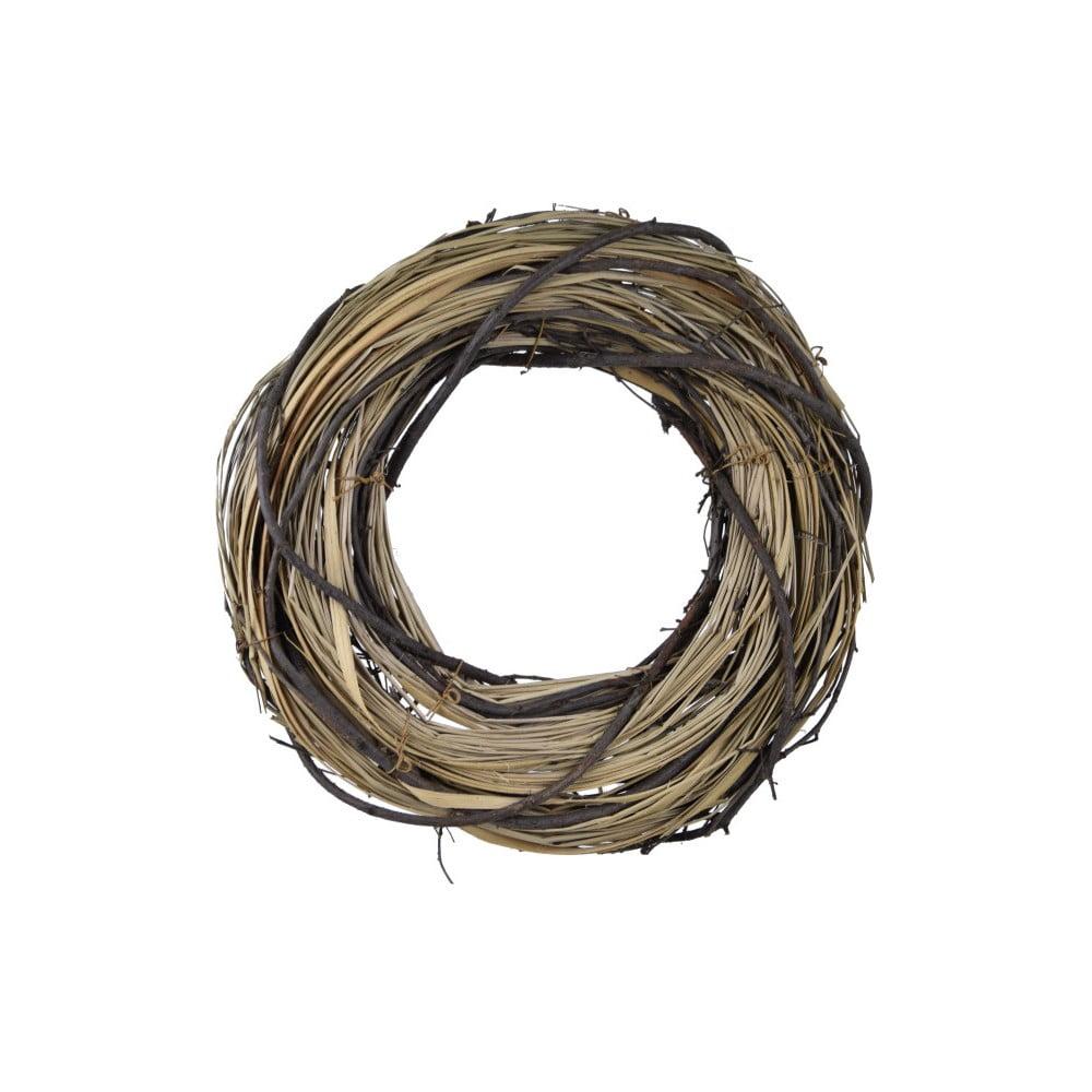 Kulatý dekorativní věnec z proutí a sušené trávy Ego Dekor, ⌀ 26 cm