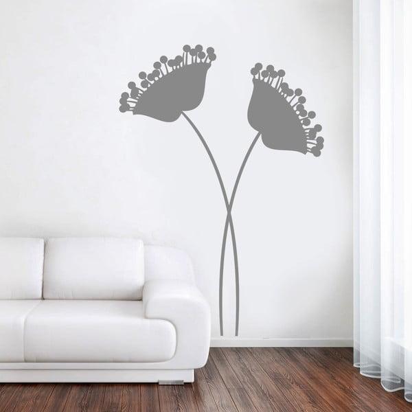 Samolepka na zeď Moderní květiny šedé, 90x60 cm