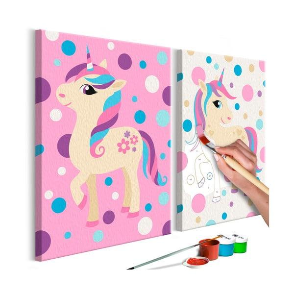 DIY set na tvorbu vlastného dvojdielneho obrazu na plátne Artgeist Unicorns, 33×23 cm