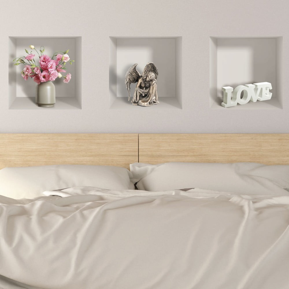 Produktové foto Sada 3 3D samolepek na zeď Ambiance Symbols of Love