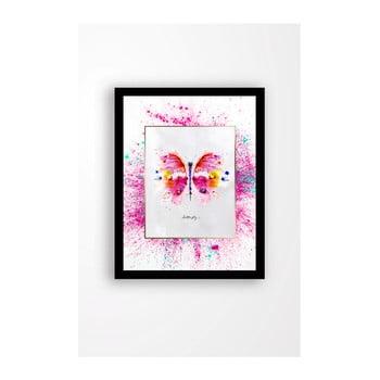 Tablou pe pânză în ramă neagră Tablo Center Butterfly, 29 x 24 cm de la Tablo Center