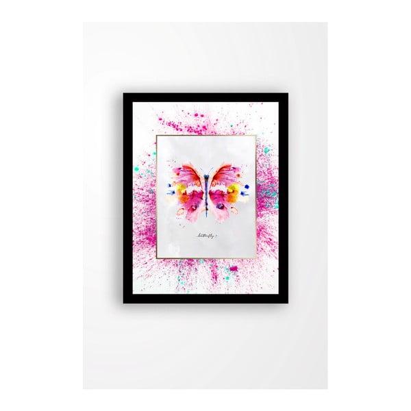 Nástěnný obraz na plátně v černém rámu Tablo Center Butterfly, 29 x 24 cm