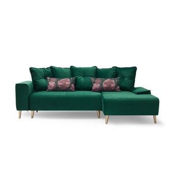 Canapea cu șezlong pe partea dreaptă Bobochic Paris Hera, verde