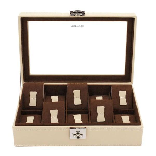 Béžový kožený box na 10 hodinek Friedrich Lederwaren Cordoba