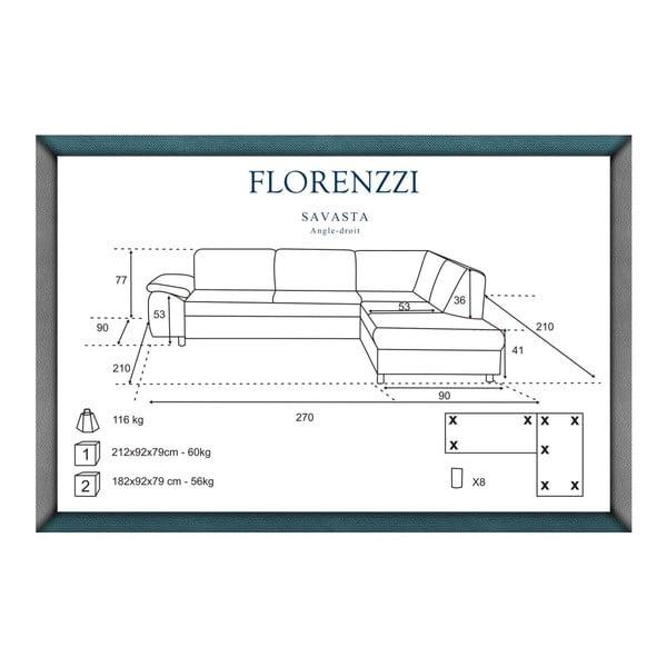 Světle šedá pohovka Florenzzi Savasta s lenoškou na pravé straně