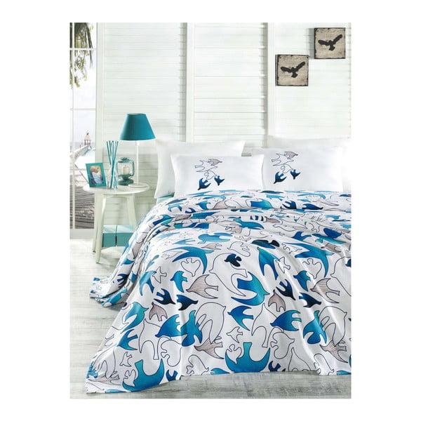 Přehoz přes postel na dvoulůžko s povlaky na polštáře a prostěradlem Yalcin,200x235cm