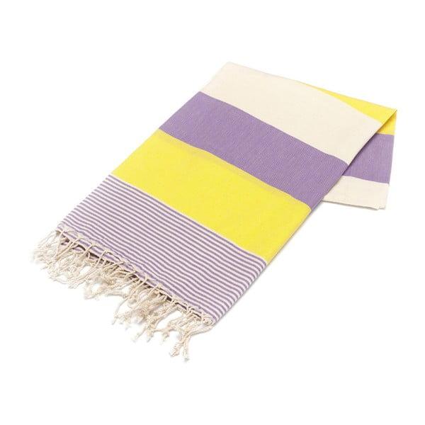 Fioletowo-żółty ręcznik Hammam Amerikan, 100x180cm