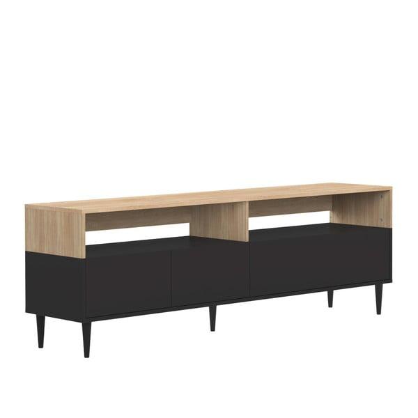Masă pentru TV cu detalii din lemn de stejar TemaHome Horizon, negru